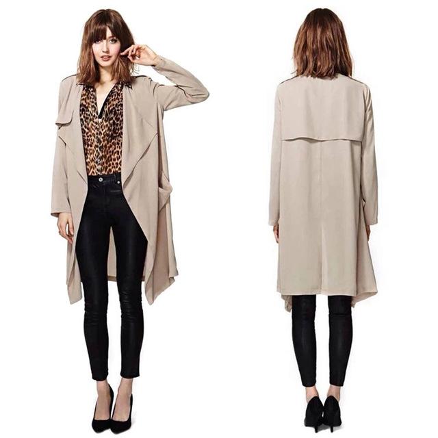 Roupas de marca 2016 Outono Europeu Feminino Trench Coat Blusão Feminino Bolso Ocasional Das Senhoras Da Forma Cardigan Manto JA8019