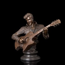 Brass Famous American Rock and Roll Star Musical Man  Guitar Bust Bronze Sculptures Elvis Aron Presley figurine Souvenirs
