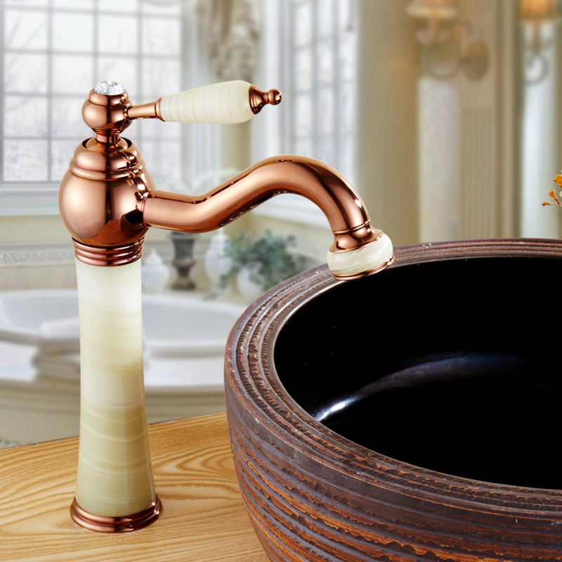 цена на Whosale European copper White jade marble style basin faucet, Antique wash basin faucet hot and cold mixer tap rose gold