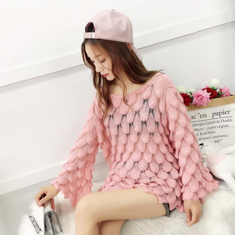 Long Sleeve Loose Autumn Women Pullover Sweater Yellow Knit Fashion Female Pull Summer Novelty Pullovers and Sweaters