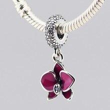 Se adapta a Pandora Pulseras de Plata Original Orquídea Encantos de Plata de ley Con Piedras de LA CZ y Esmalte de Las Mujeres Encantos de La Joyería DIY