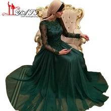 Elegant Emerald Green Arabic Evening Dresses 2017 New Hijab Long Sleeve Chiffon Beaded Dubai Muslim Prom Evening Gowns ZA004