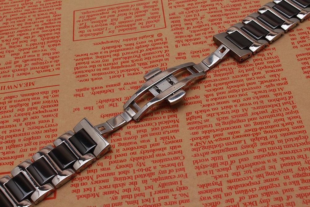 Siyah Kordonlu Saat Seramik paslanmaz çelik gümüş metal saatler - Saat Aksesuarları - Fotoğraf 4