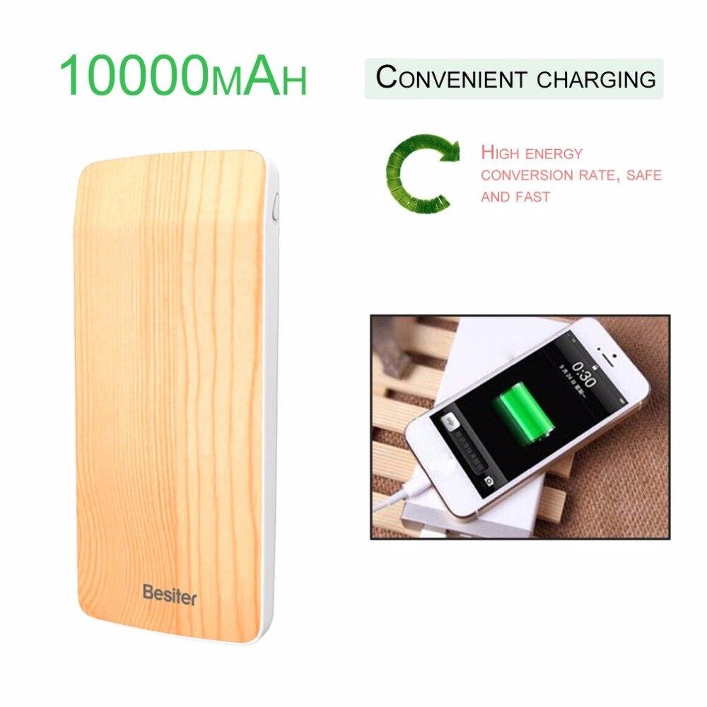 Besiter 10000mAh Ultra Thin Wood Grain External Powerbank Modern Design for Mobile Phone Universal Portable USB Battery Charger