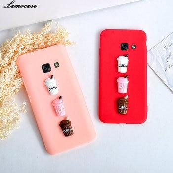 3D Cute Coffee Milk Soft TPU Phone Case For Samsung Galaxy A3 A5 A7 J3 J5 J7 2017 C5 C7 Pro C8 C9 C10 Plus Candy Color Cover feature phone