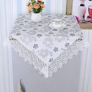 Image 3 - Moderne Wasser löslich Spitze Tischdecke Quadrat Kaffee Tisch Kühlschrank Nacht Abdeckung Tuch Staub Tapete Handtuch Weihnachten Hochzeit
