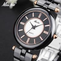 Miss Fox Black Ceramic Watch Fashion Brand Rose Gold Relog Women Ceramic Gift For Girls Butterfly Button Quartz Wrist Watches