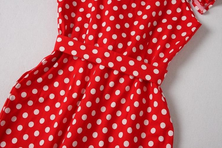 ALPHALMODA 18 New Polka Dot Shirt Pocket Dress Petal Sleeve Single Breasted Slim Sashes Women Fashion Summer Vestidos 16