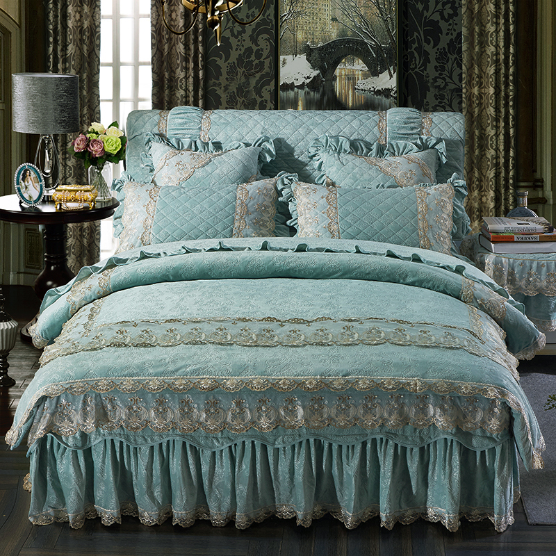 Bedding set Queen size Bed sets Princess style Blue Pink Fleece Bed cover set Duvet cover
