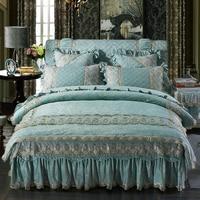 Bedding set Queen size Bed sets Princess style Blue Pink Fleece Bed cover set Duvet cover Bed skirt Bedspread dekbedovertrek