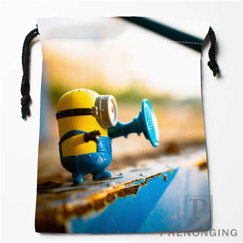 Custom Minion@03 Drawstring Bags Printing Fashion Travel Storage Mini Pouch Swim Hiking Toy Bag Size 18x22cm #171208-21
