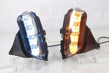 Osmrk  led drl daytime running light for Toyota Vios 2014-2016  with yellow turn signals and blue night running light