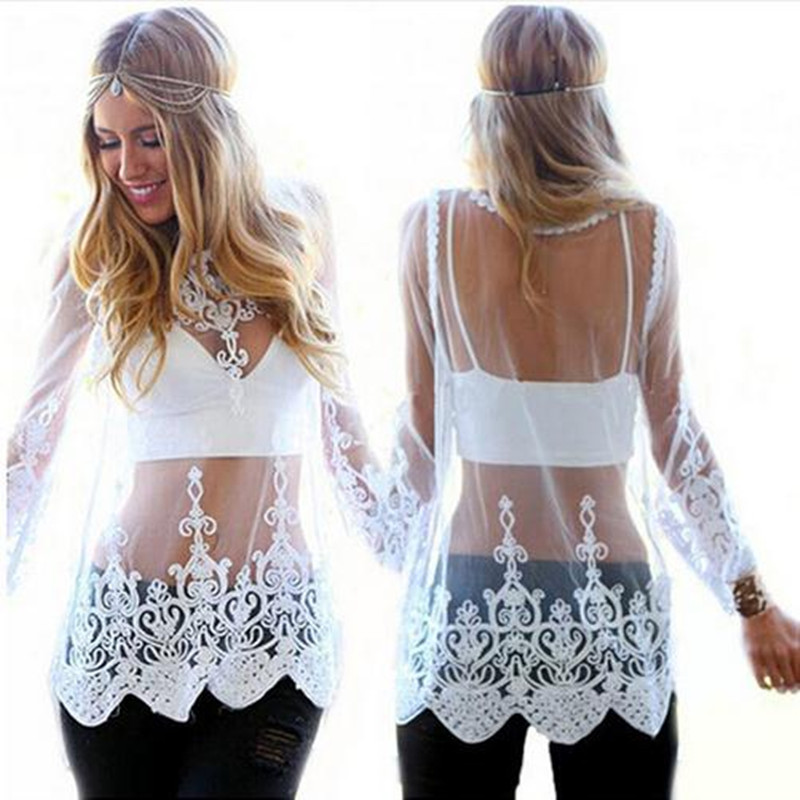 2018 summer new European and American long-sleeve embroidered lace sexy translucent gauze lace   blouses   big yards   Blouses     Shirts