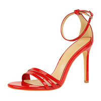 Elegant Women Designer Luxury Brand Sandals Sexy Thin Patent Leather High Heel Sandals Dress Party Wedding