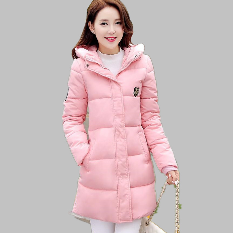 2018 Fashion New Winter Women Down Cotton Jacket Lady Long Thick Parkas Female Warm Hooded Cotton Padded Outerwear Coat