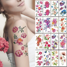 Waterproof temporary tattoo stickers pink peony flower romantic rose henna fake body art flash tatoo bo art