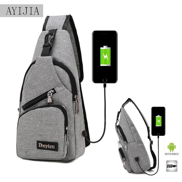 Carregamento USB fone de ouvido jack anti-roubo sacos de ombro Menino ao ar livre Oxford pano saco oblíqua Ms. peito moda casual nova saco do telefone