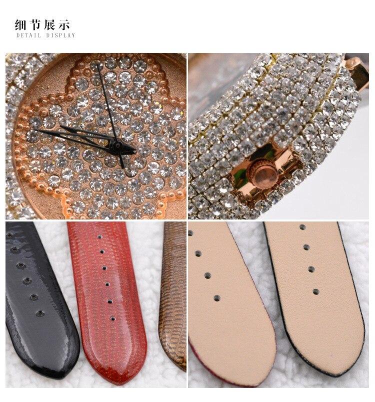 ? High Grade Wome Dress Leather Strap Rhinestone Watches Fashion Quartz Watch For Women Nice Gift For Girlfriend
