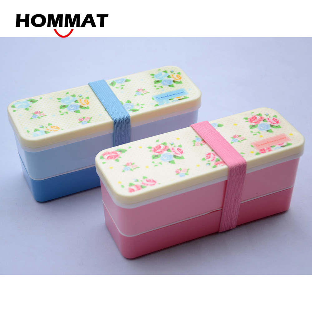 2PCS Set Small Japanese Bento Lunch Boxs for Kids Plastic Food Sushi Box Food Container Lunchbox w Belt Rose Pattern Pink & Blue(China (Mainland))