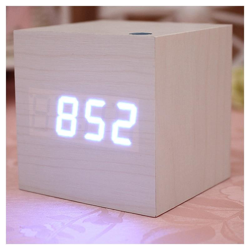 White Voice Control Cube Wood LED Alarm Digital Desk Clock