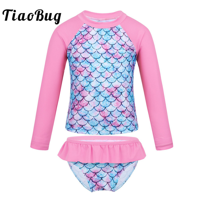 TiaoBug Kids Girls Tankini Long Sleeve Mermaid Fish Scale Printed Rashguard Beach Swimwear Children Tops Bottom Bathing Suit Set