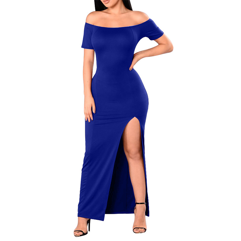 Plus Size 4XL Sexy Off Shoulder Women Summer Dress  Elegant Solid Color Party Vestidos Skinny Strapless Empire Lady Dress