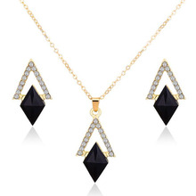 цена на Black Crystal Earrings Necklaces Jewelry Sets Gold Color For Women Geometric Design Wedding Jewelry 2 Pieces Jewelry Sets