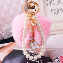 Rabbit Hare Pompom Bunny Keychain For Womens Bag Pearl Charm