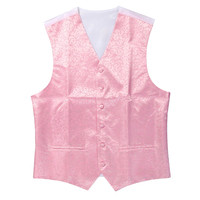 New Mens Top Swirl Wedding Waistcoat Pink L UK 40