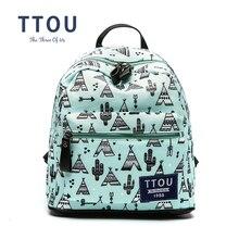 Ttou дизайн зеленый Геометрические печати рюкзак для девочек-подростков школьная сумка женщины рюкзак дорожная сумка большой емкости рюкзак школьный