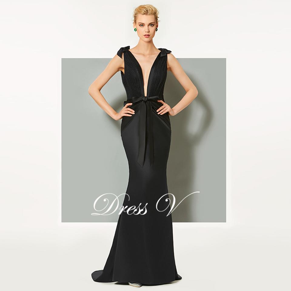 902bcc5dd Dressv negro vestido de noche V cuello barrido tren sirena sin mangas boda  fiesta formal vestido trompeta