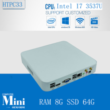 Windows PC Mini Box Embedded Intel Core i7 3537U Max 3.1GHz 4M Cache 8GB Ram 64GB SSD 300M Wifi HDMI VGA Dual Display