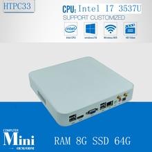 Окна пк мини встроен процессор Intel i7 3537U Max 3.1 ГГц 4 м кэш 8 ГБ оперативной памяти 64 ГБ SSD 300 м wi-fi жк-hdmi VGA dual-дисплей