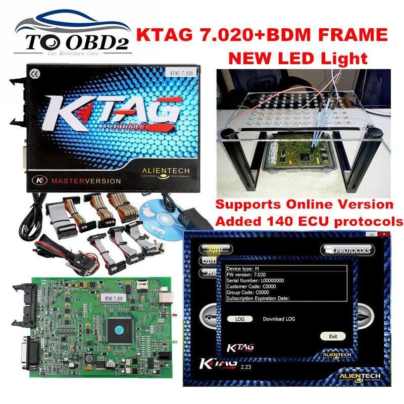 Цена за Лучший экю программирования Новый KTAG 7.020 SW2.23 без маркеров Limited и новый LED BDM кадр огни онлайн обновленную версию k тег 6.070