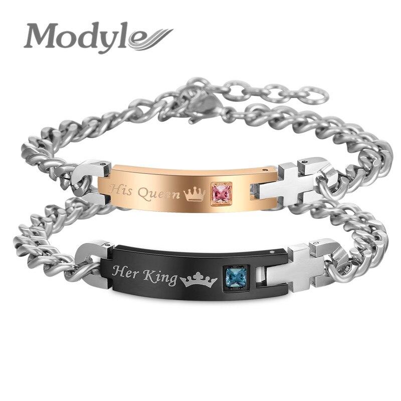 Modyle Drop Verschiffen Ihr König und Seine Königin Hochzeit Armbänder Armreifen Kristall Stein Charm Liebhaber Armband für Frauen Männer