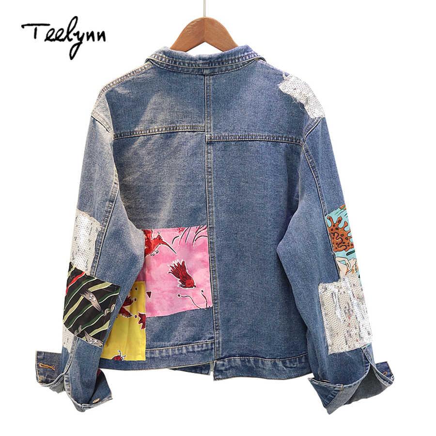 TEELYNN Boho Женская куртка осеннее пальто с длинными рукавами и вышивкой, с мультяшным рисунком Верхняя одежда Джинсовая куртка для женщин