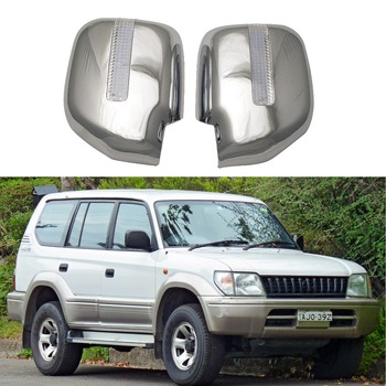 For Toyota Land Cruiser Prado J90 1996-2002 2PCS ABS Chrome plateddoor Rearview door mirror covers with Led