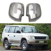 Toyota Land Cruiser Prado için J90 1996 2002 2 ADET ABS Krom plateddoor Dikiz kapı ayna kapakları ile Led|Ayna ve Kapaklar|   -