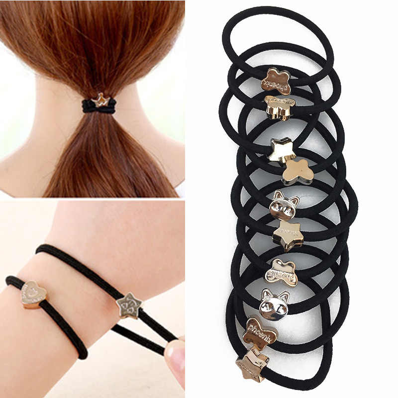 10PCS/Lot Women Hair Bands Black Elastic Hair Rubber Clips Hair Ropes Ponytail Holder Hair Accessories Women Head Band Tie Gums