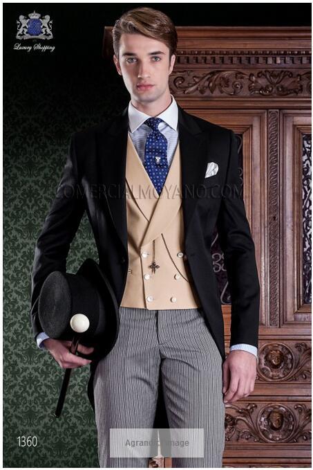 Latest Coat Pant Designs Italian Black Gold Tuxedo font b Men s b font Morning font