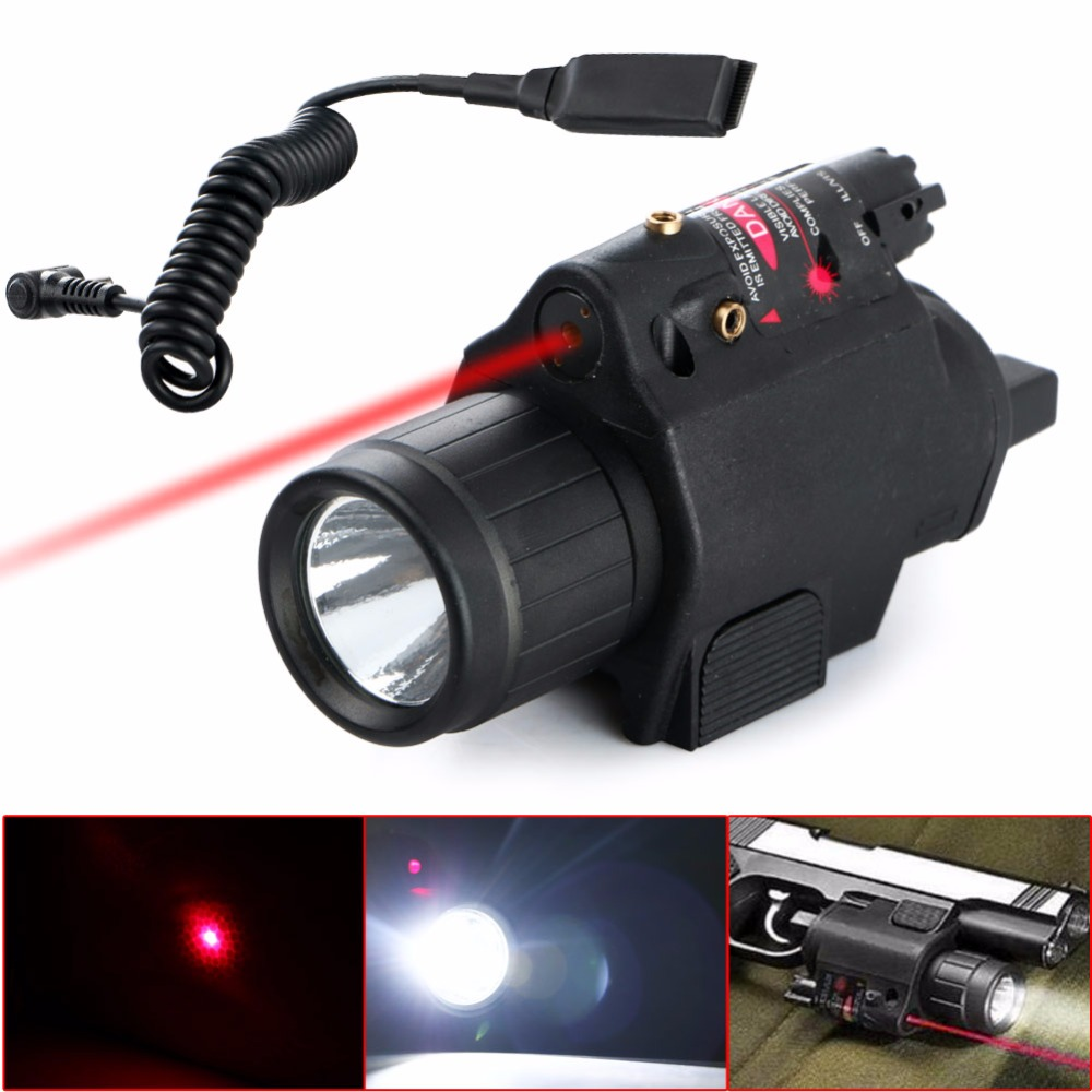 2 in 1 Tactical Insight Red Laser Flashlight CREE Q5 LED 300 Lumen Sight Combo For Pistol Gun 3 Modes For 2X3V CR123A Battery xl nxf rg 5mw green laser gun sight w weaver mount led flashlight black 3 x cr 1 3n