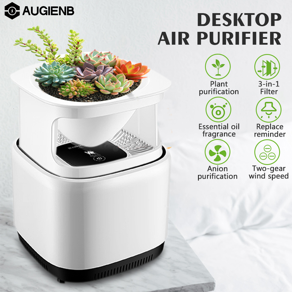 Augienb 3-in-1 Micro-ecology Mini Desktop Air Purifier Ionizer With 3-in-1 Filter Ozone Free Fresh Air Negative Ion Aromatherapy