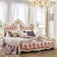 Спальня мебель антикварная французская Стиль King Размеры розовый кожаный деревянная кровать