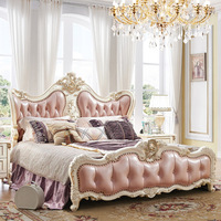 Bedroom Furniture Antique French Style King Size Pink Leather Wooden Bed
