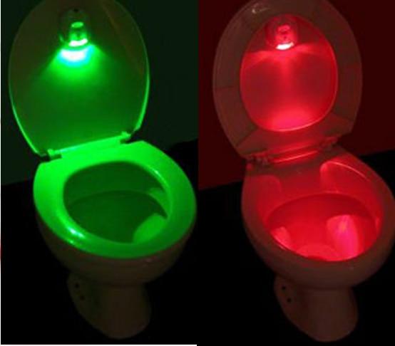 5PCS ABS LED Sensor Motion Activated Toilet Light Bathroom Flush Toilet Lamp 2AA Battery-Operated Night Light