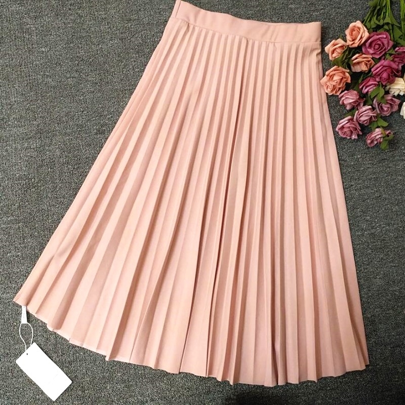 A-Line Pink Gray Black Pleated Skirt 1