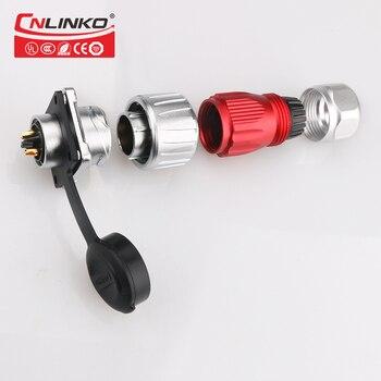 CNLINKO مسامير التأمين المعدنية M20 1/4 حربة 2pin 500 فولت وصلات صوت ومأخذ السيارات دبوس موصل مقاوم للماء موصل الطاقة الكهربائية Automotive High Voltage Cable Connector