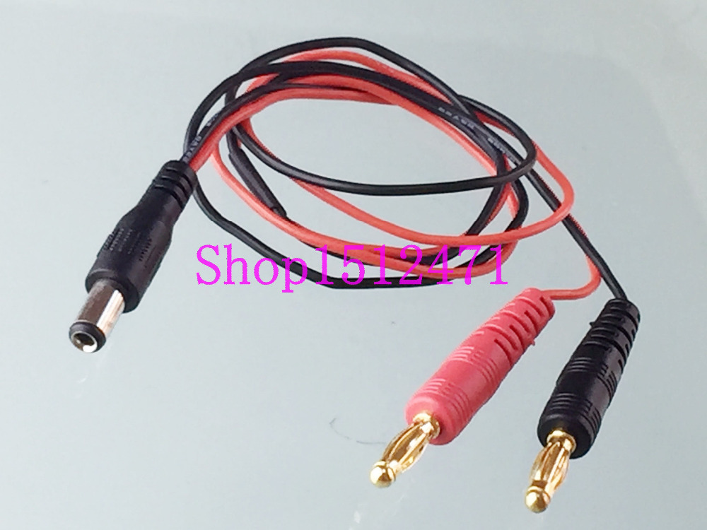 4mm banana plug to <font><b>5.5</b></font> <font><b>X</b></font> <font><b>2.1mm</b></font> DC Power male plug charger 22AWG 60CM cable image
