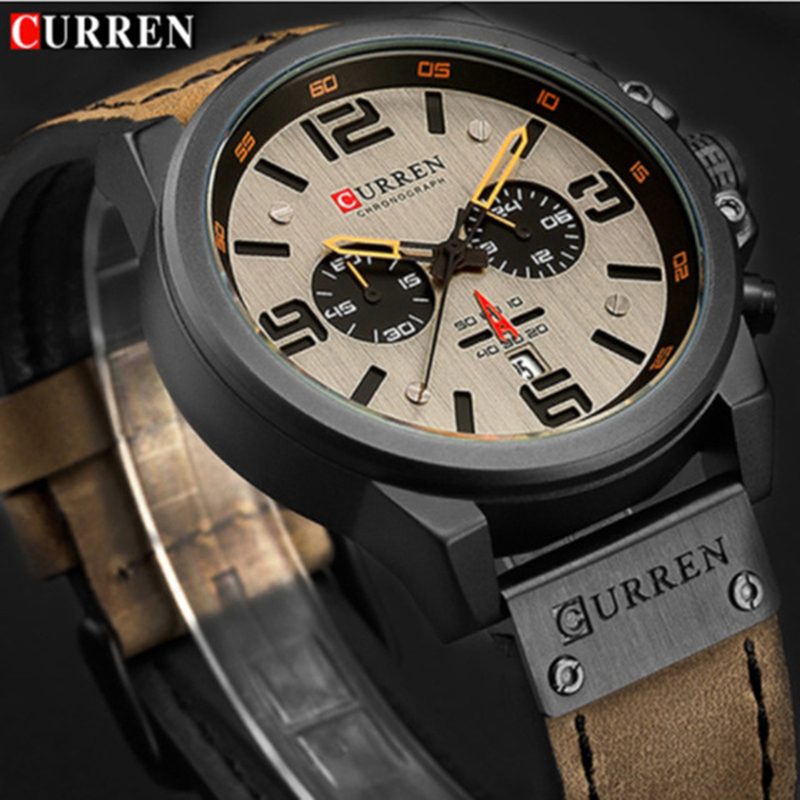 купить New 2019 Men Watch CURREN Top Brand Luxury Mens Quartz Wristwatches Male Leather Military Date Sport Watches Relogio Masculino по цене 1260.67 рублей