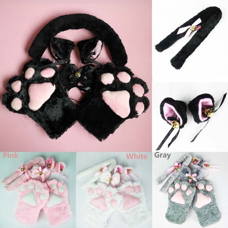 Free PP 1 Set New Anime Cosplay Costume cat Ears Plush Paw Claw Gloves Tail Bow-tie Girls Women Winter Halloween Lovely Gifts